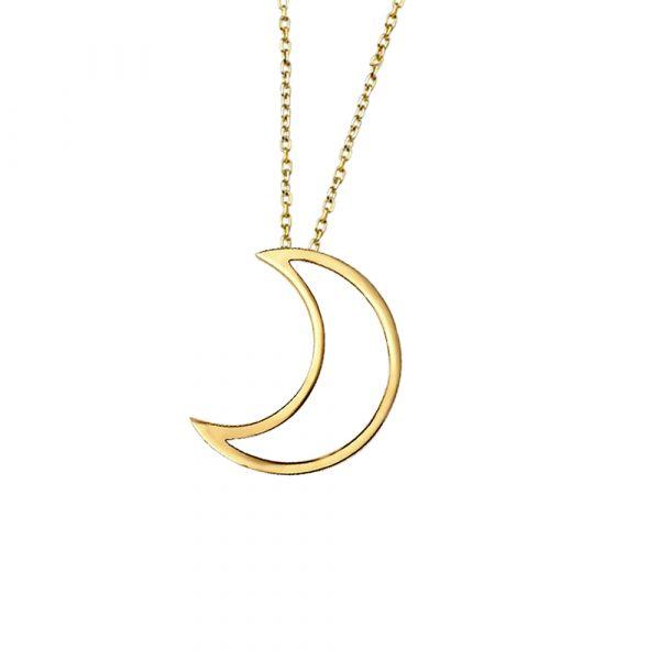Open moon pendant yellow gold