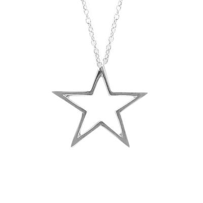 Open frame star pendant silver