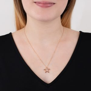 Rose gold open star pendant