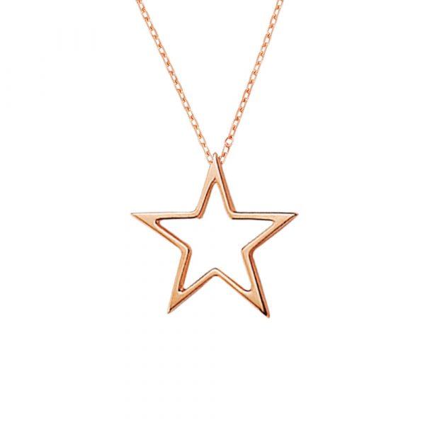Rose gold open star pendant