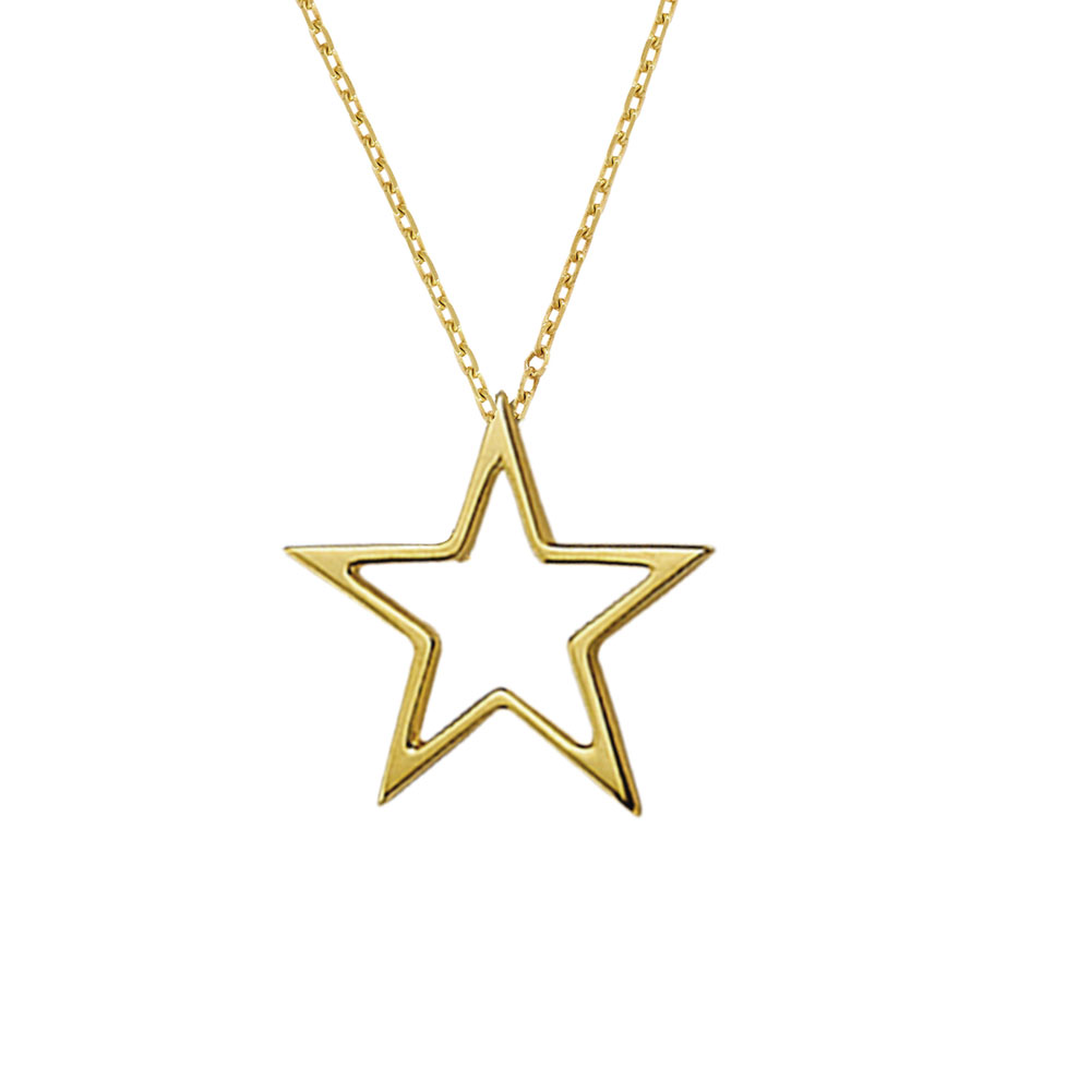 Open star pendant yellow gold