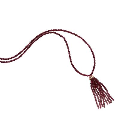 Elegant Long Garnet Tassel Necklace