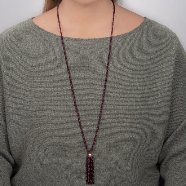 Rose gold garnet Tassel necklace