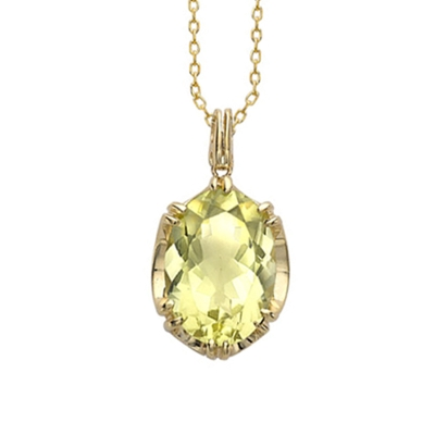 Lemon quartz cocktail pendant yellow gold