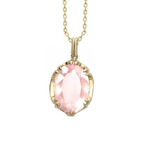 Rose quartz cocktail pendant yellow gold