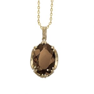Smoky quartz cocktail pendant yellow gold