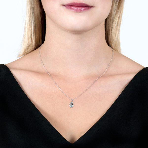 Pearshape White Gold Aquamarine Bead Pendant