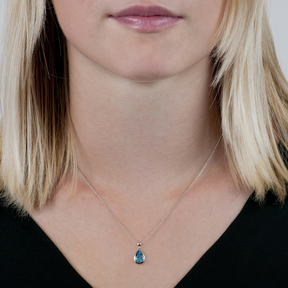 """Details about  /14k White Gold Pear Blue Topaz Pendant with 18/"""" Chain"""