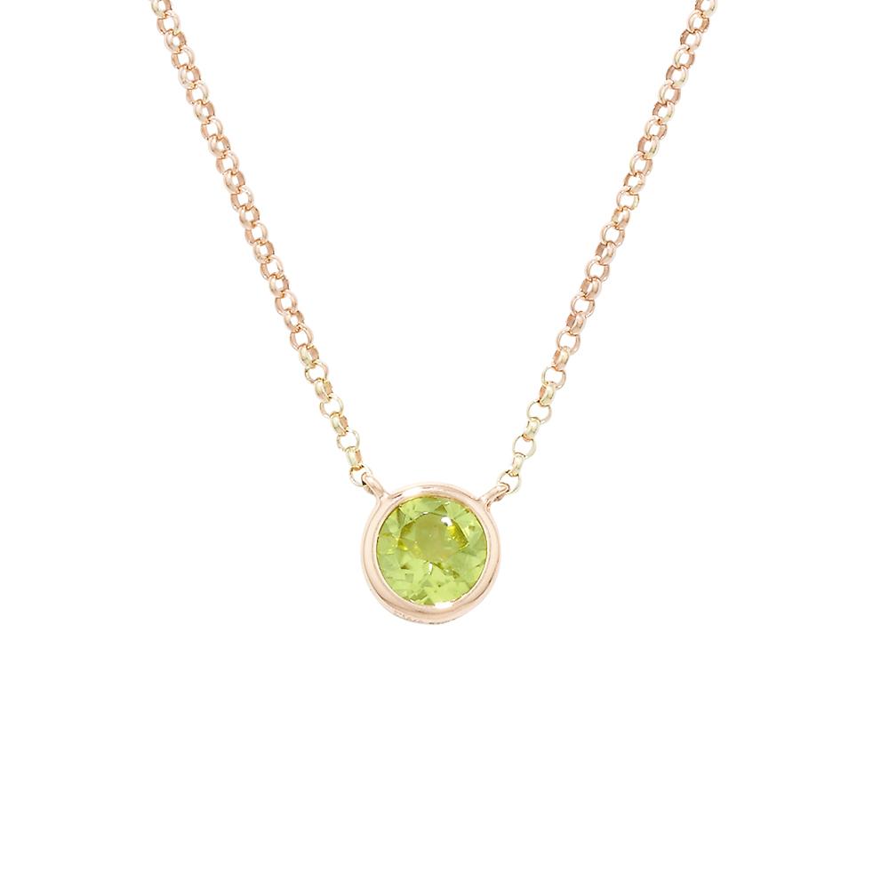 Luxury Rose Gold Single Peridot Raindrop Pendant Necklace