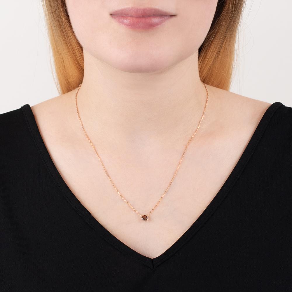 Rose gold smoky quartz Raindrop solitaire necklace