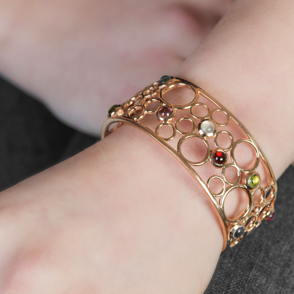Rose gold multi gem cuff bangle