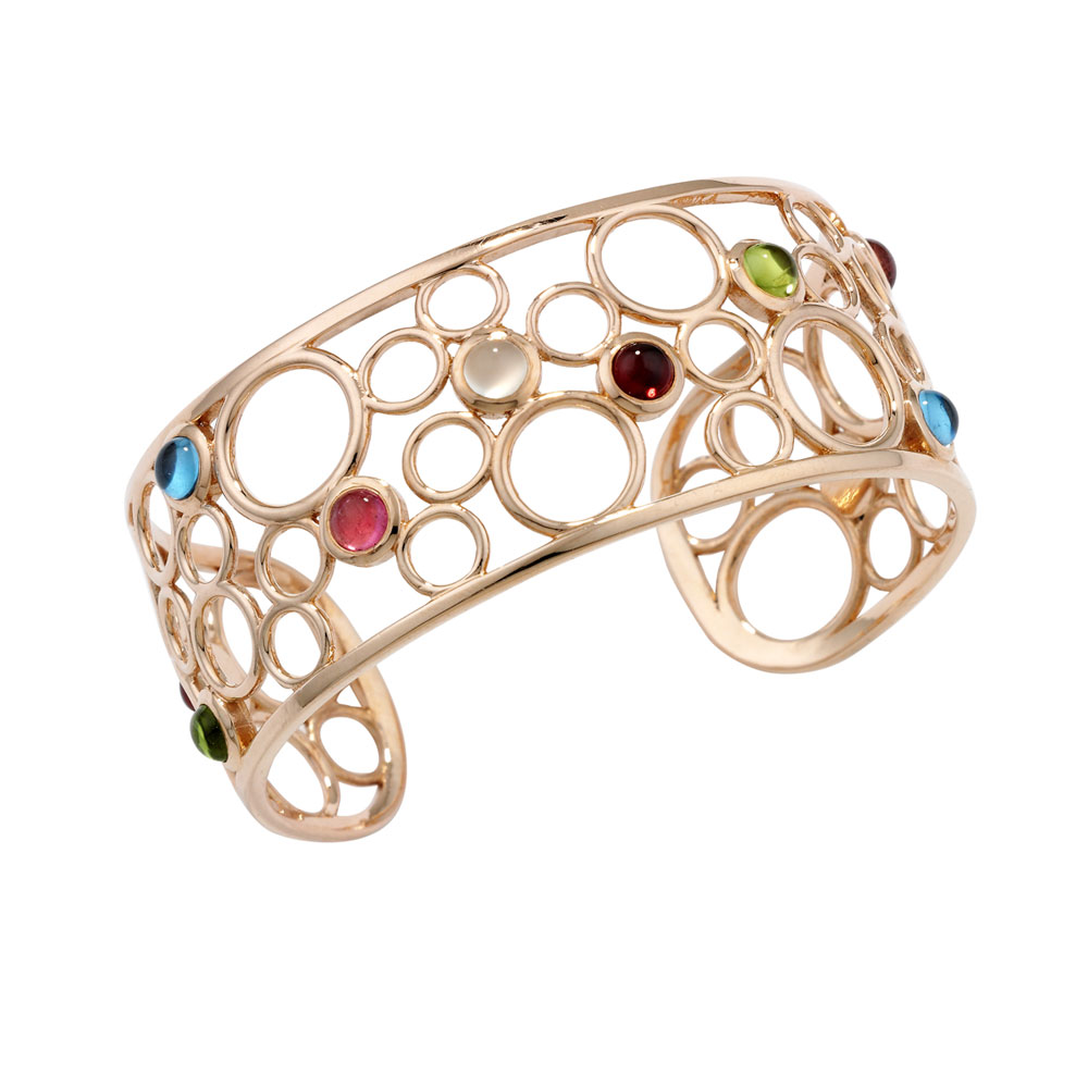 Gemstone bubble cuff bangle rose gold