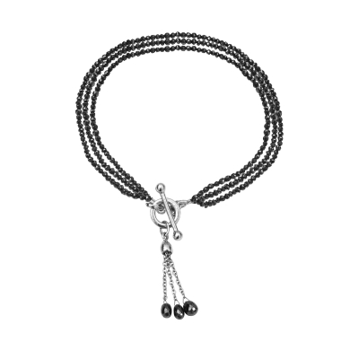 Black diamond three row tassel bracelet white gold