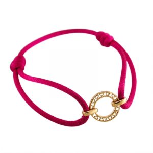 Disc cerise friendship bracelet yellow gold