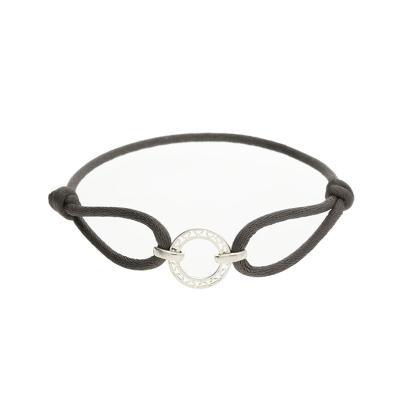 Disc grey friendship bracelet silver