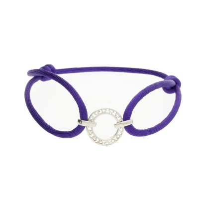 Disc purple friendship bracelet silver