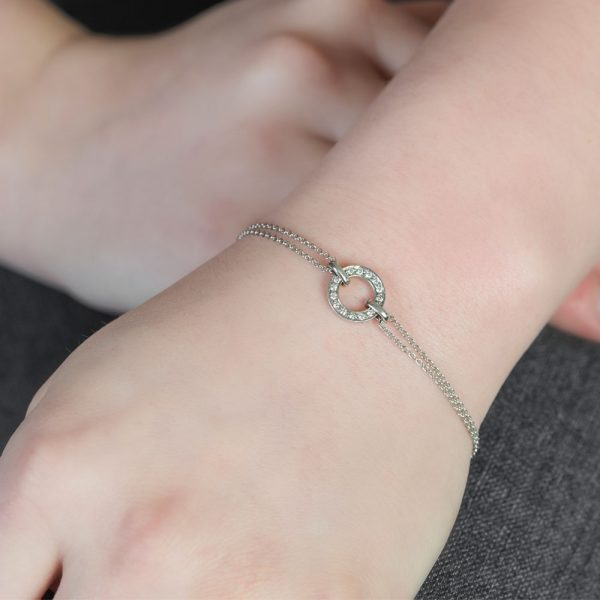 White gold diamond circle bracelet