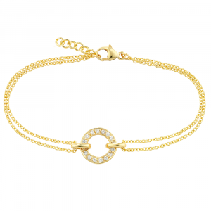 Yellow gold diamond circle Meridian bracelet
