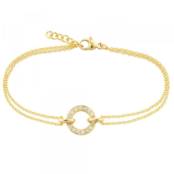 Yellow gold diamond circle Meridian bracelet