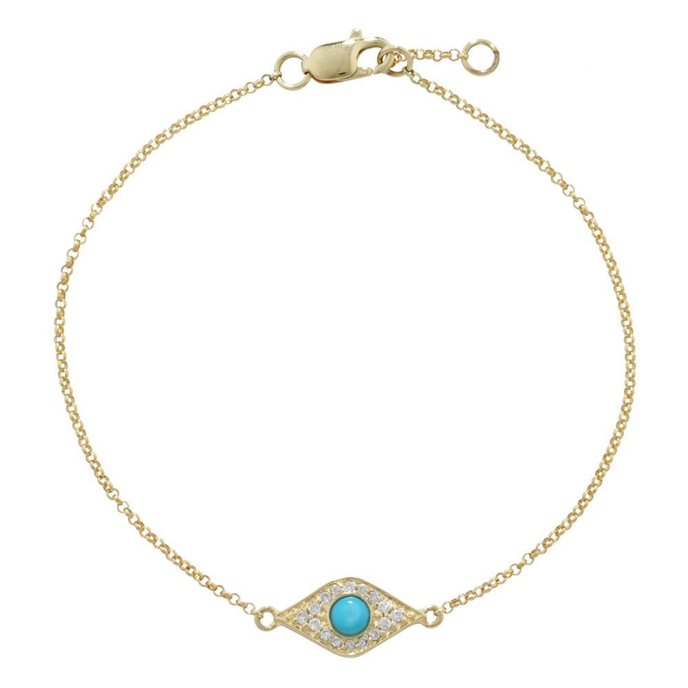 Yellow gold diamond turquoise Evil Eye bracelet