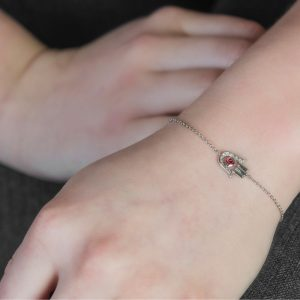 White gold diamond ruby Hand of Fatima bracelet