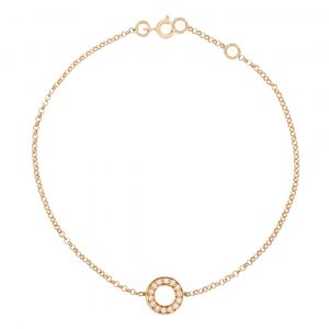Rose gold diamond circle Meridian bracelet