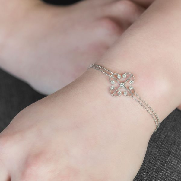 White gold diamond Lattice bracelet