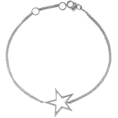 Open frame star bracelet silver