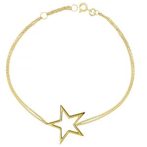 Yellow gold open star bracelet