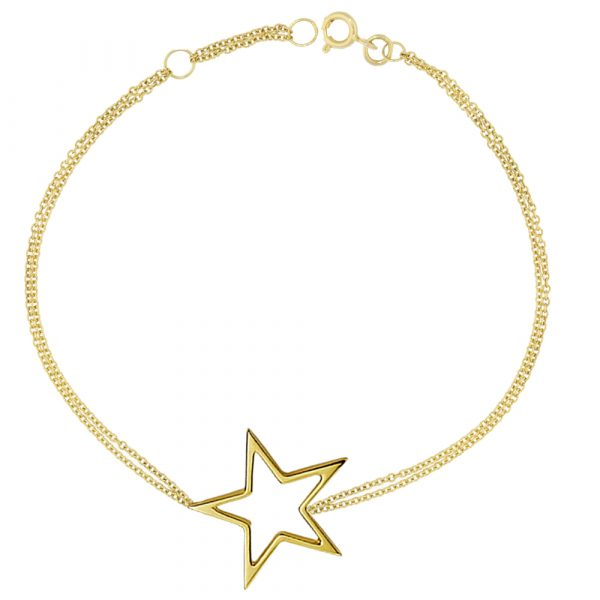 Yellow gold open star bracelet