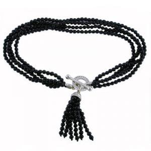 Black onyx tassel bracelet white gold