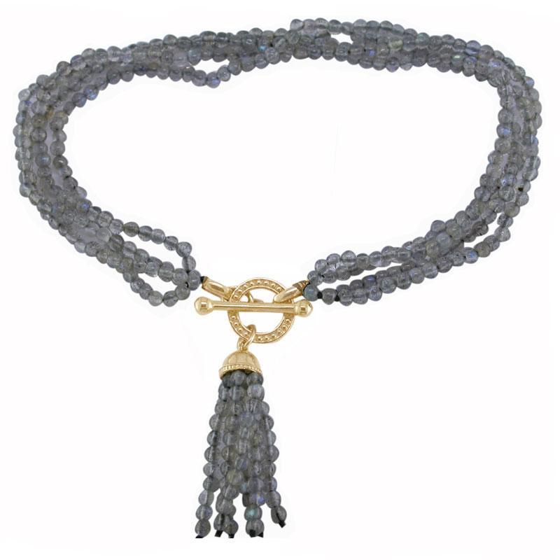 Labradorite tassel bracelet yellow gold