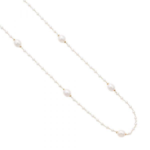 White cultured freshwater pearl necklace yellow gold
