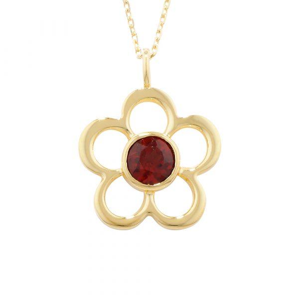 Garnet birthstone flower pendant yellow gold