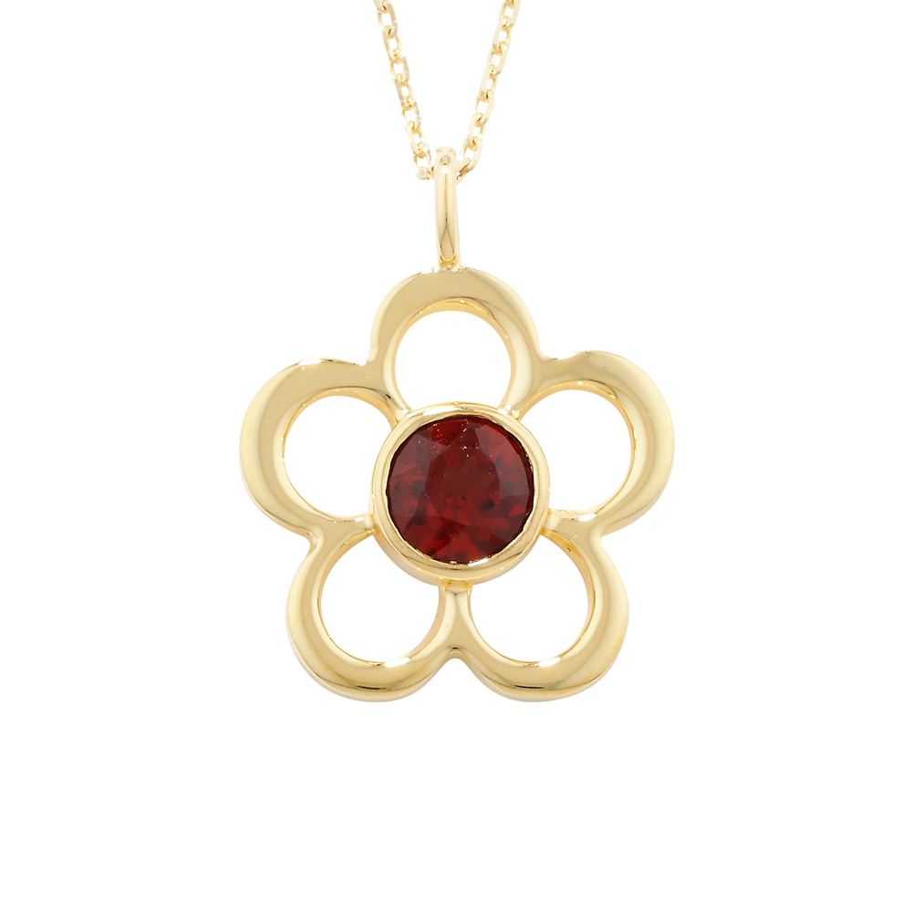 Bespoke Yellow Gold Garnet Blossom January Birthstone Pendant Necklace