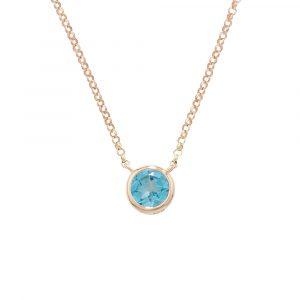 Blue topaz bubble single stone pendant rose gold