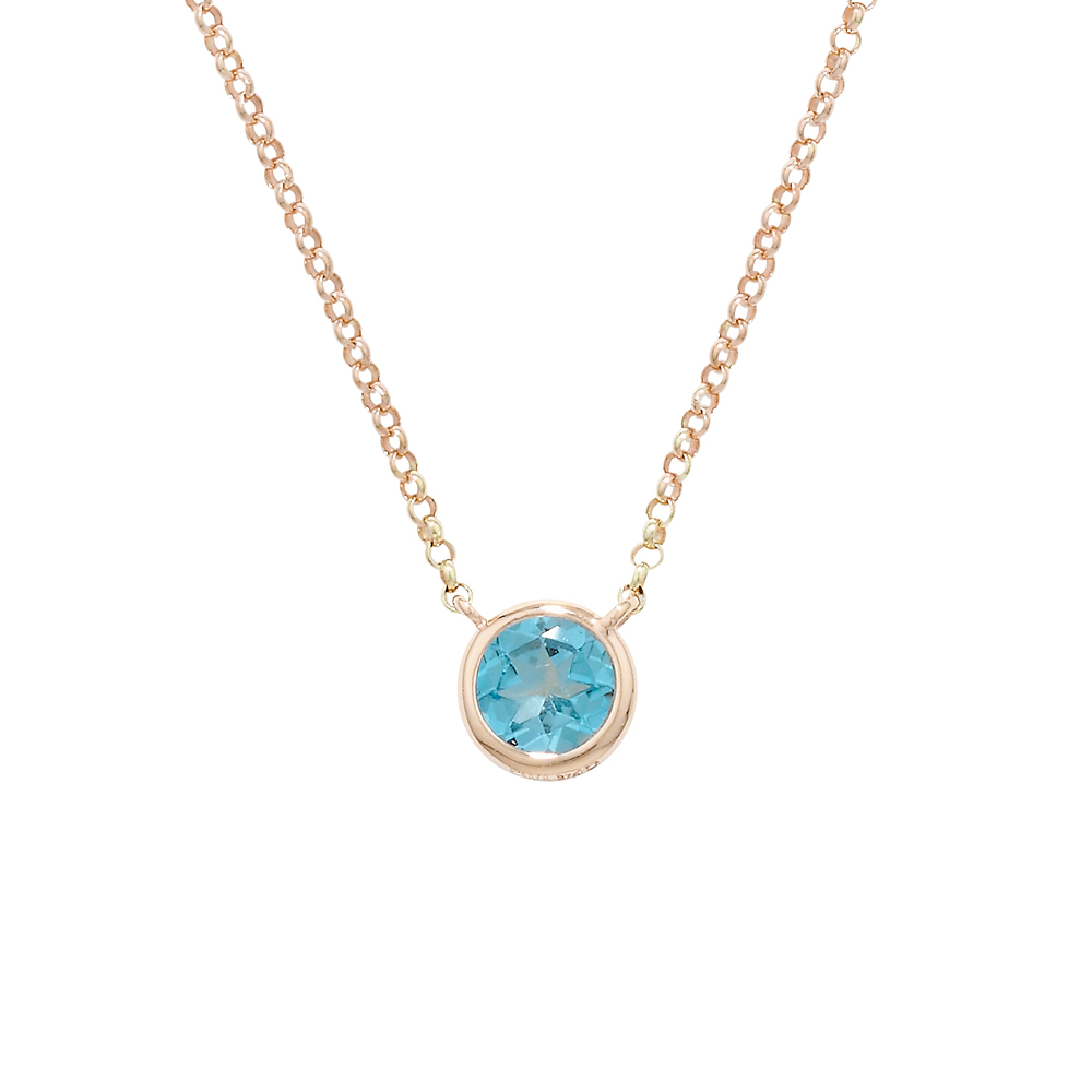 Blue topaz bubble single stone pendant rose gold