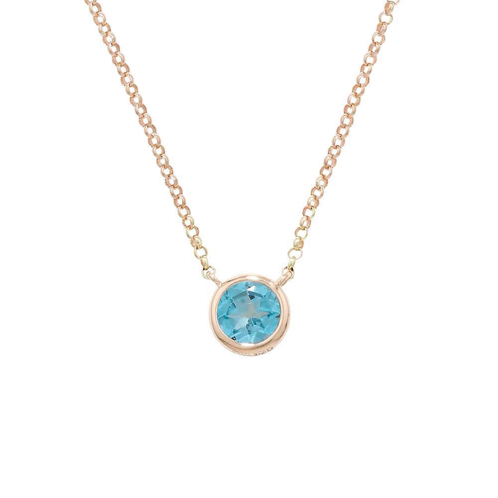 Classic Rose Gold Single Blue Topaz Raindrop Pendant Necklace