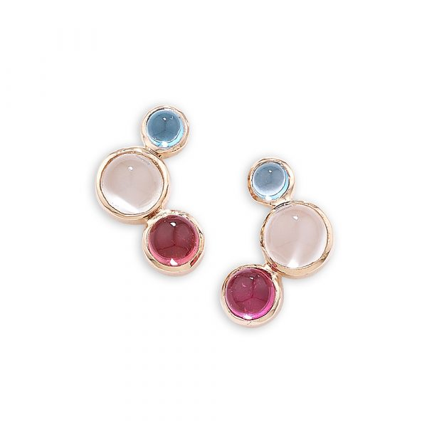 Pink tourmaline, blue topaz and moonstone earrings