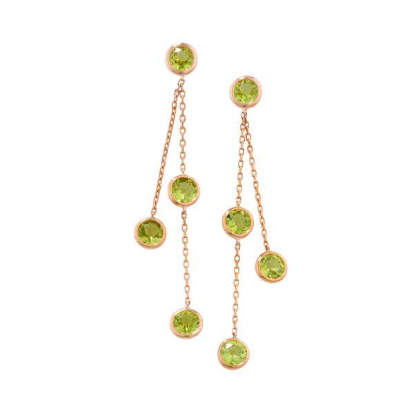 Peridot drop earrings rose gold