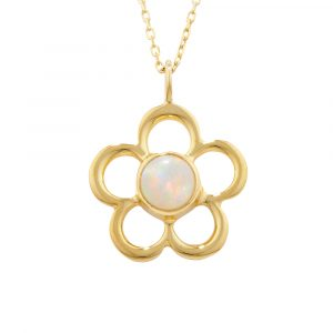Opal birthstone flower pendant yellow gold