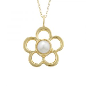 Cultured freshwater pearl birthstone flower pendant yellow gold
