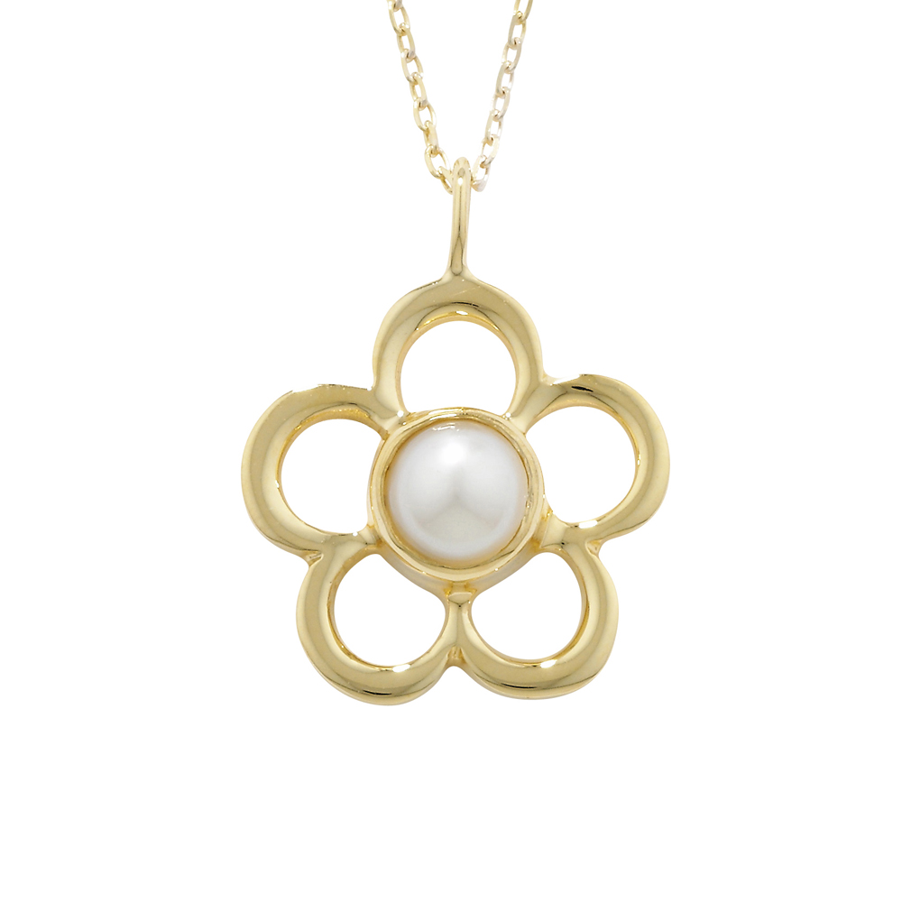 Designer Yellow Gold Pearl Blossom June Birthstone Pendant