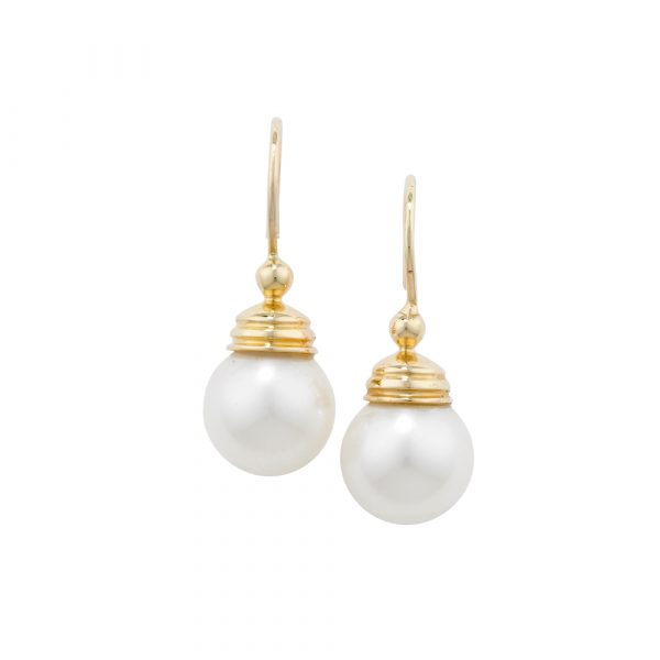White cultured freshwater pearl drop earrings yellow gold