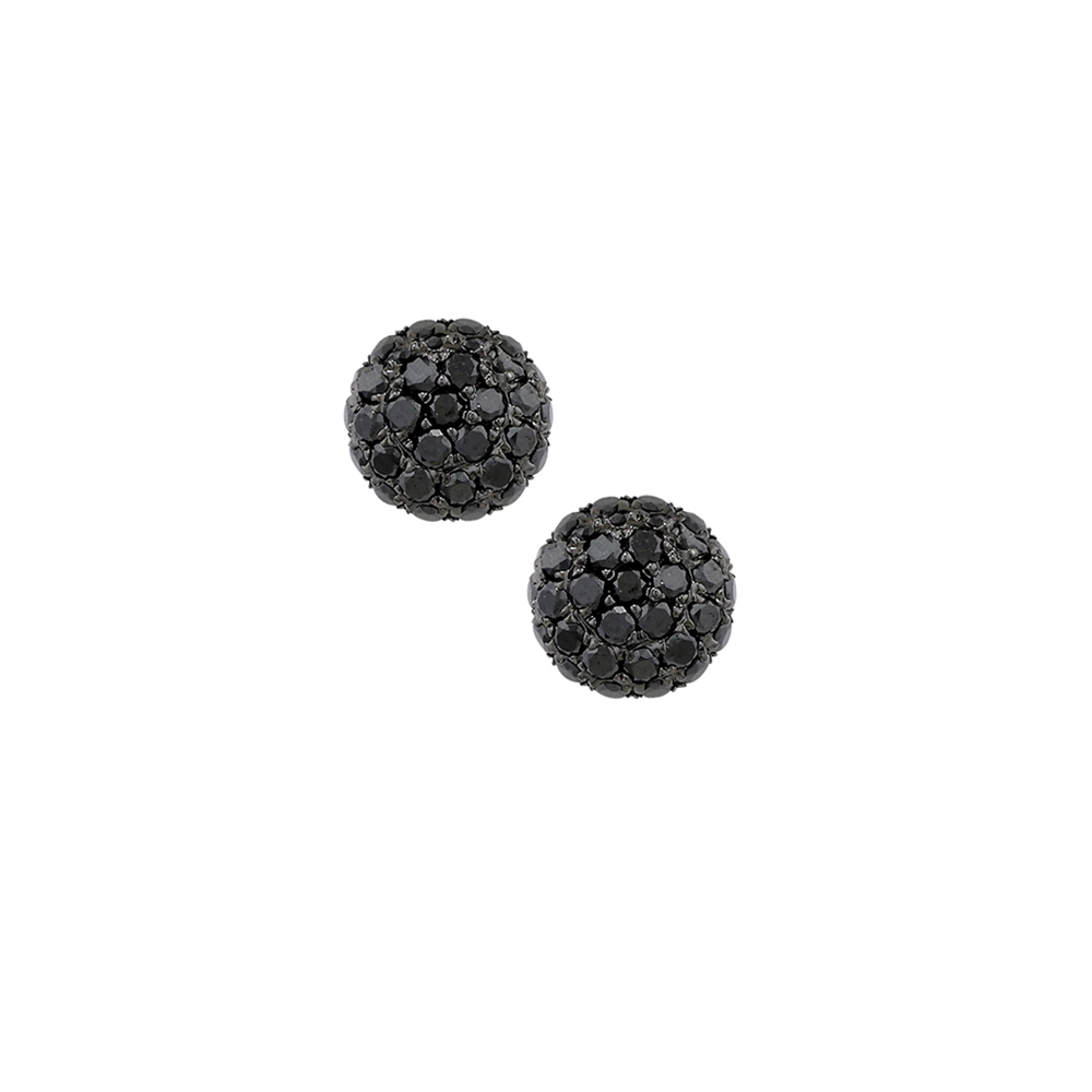 Black diamond ball cluster stud earrings white gold