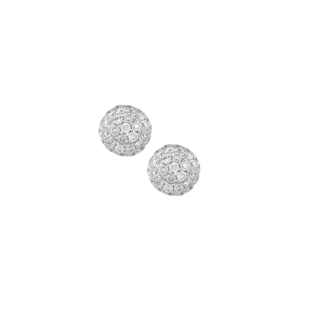 Diamond ball cluster stud earrings white gold