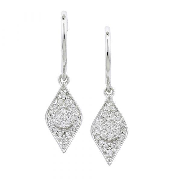 Diamond evil eye drop earrings white gold