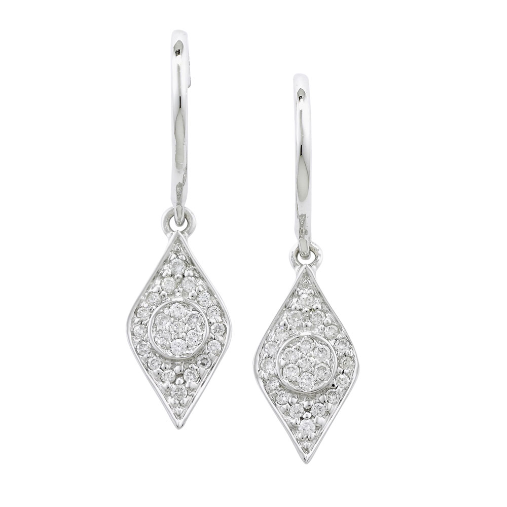 Designer Enchanted White Gold Evil Eye Diamond Drop Earrings