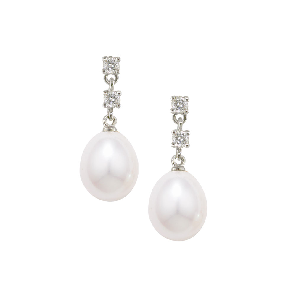 Diamond and cultured freshwater pearl drop earrings white gold