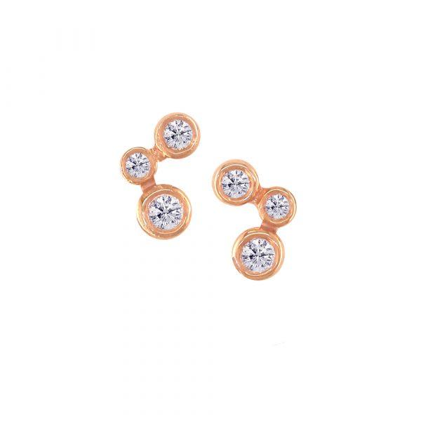 Rose Gold Diamond Stud Earrings